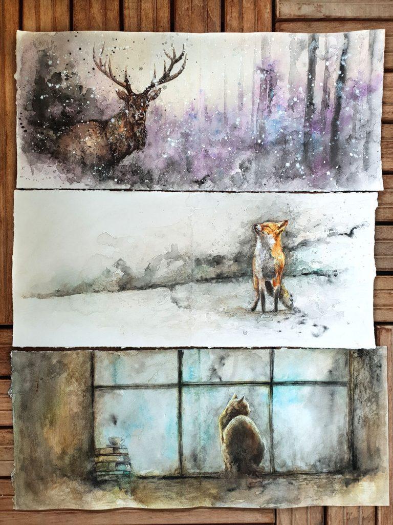 Peintures aquarelles d'animaux par Sandrot
