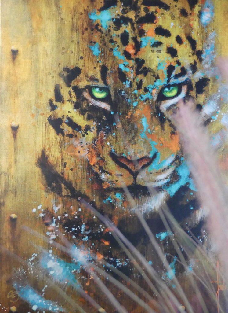 Peinture artistique animalière de léopard