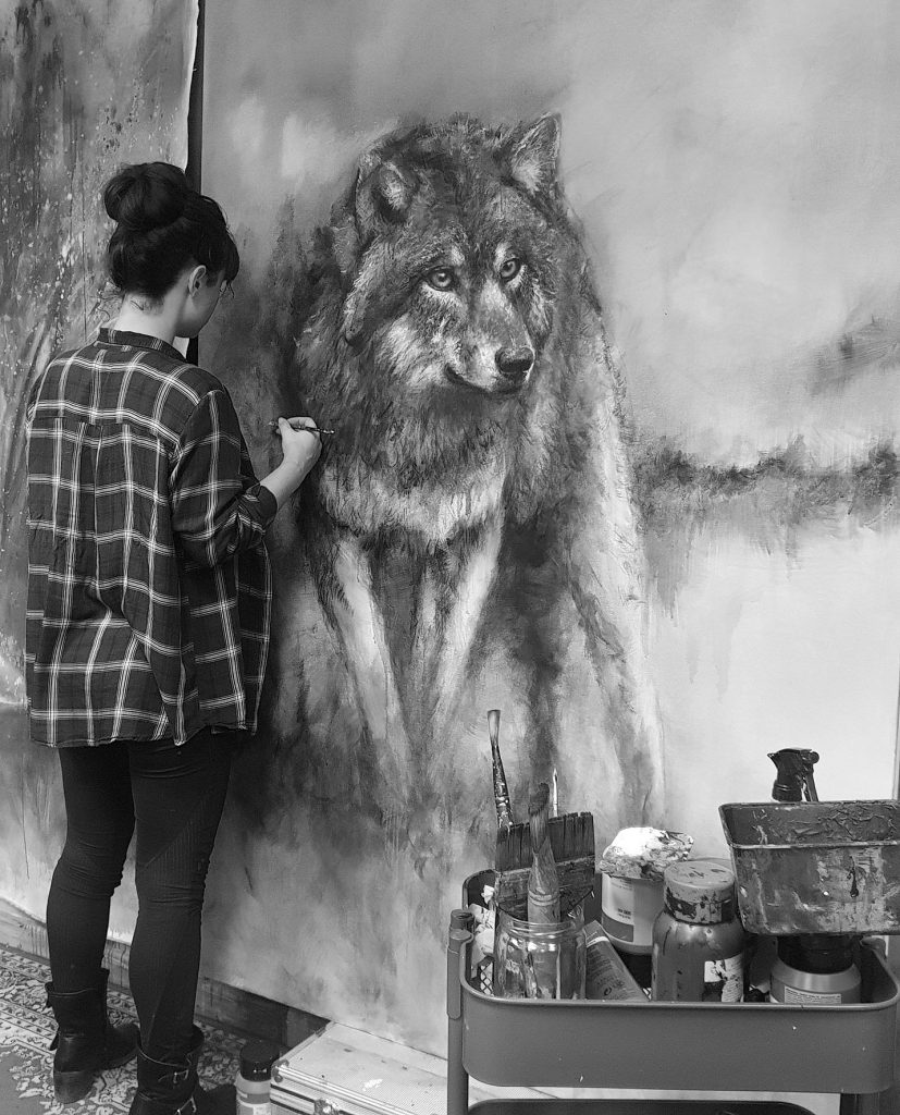 Loup dans son environnement naturel photo studio