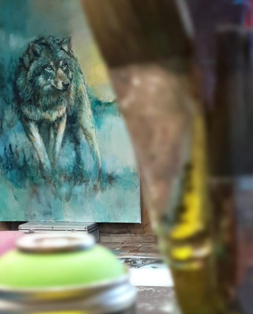 Loup peinture art contemporain