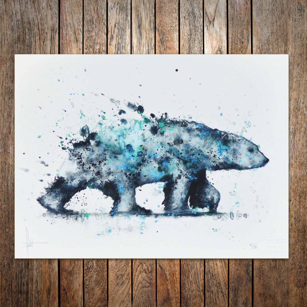 Aquarelle d'un ours en tirage limité certifié