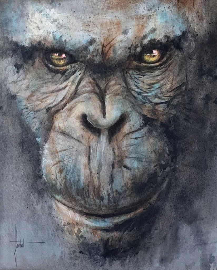 Peinture de gorille sur toile réalisé en atelier