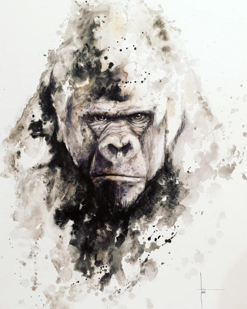 Gorille de face, peinture atelier de Sandrot