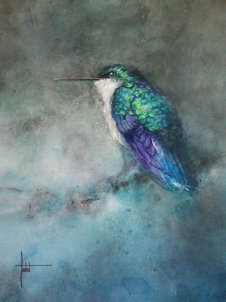 Petit colibri bleu peint sur toile